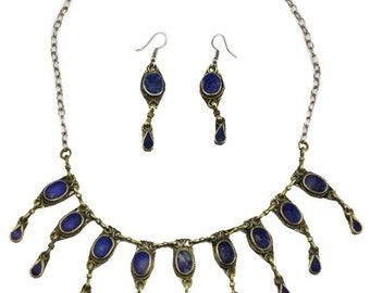 Blue Bib Necklace and Earrings, Lapis Lazuli Bib Necklace and Earrings, Blue Bead Necklace, Blue and Silver Necklace, Lapis Lazuli Necklace