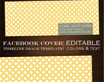 Facebook Timeline Cover Image - Customizable Premade Mellow Yellow Design- DIY Online Editor Retro Minimalist Geometric Clean mly