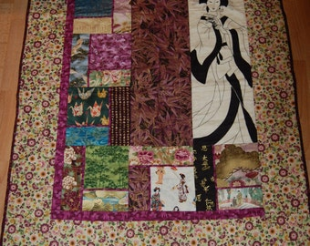 Sale! Geisha Purple ans Gold Asian Fabric Wall Hanging Quilt