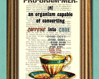 PROGRAMMER DEFINITION - Dictionary Art Print - Inspirational Quote - Wall Art - Upcycled Book Page Print