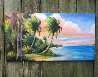 Old Indian River Original Oil Painting, Old Florida, Old Florida Art, Buddy Brown Art, Tropical, Florida History, Tropical art, palm tree,