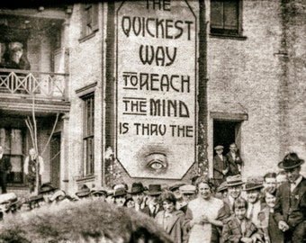 "Vintage photo antique photograph sign ""Quickest Way to Reach Mind is Thru the Eye"" 1920s photography PRINT"