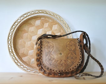 Vintage hand tooled leather bag, leather purse, small leather bag, leather shoulder bag, boho bag, boho purse, bohemian bag, CAS157
