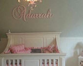GLITTER Nursery Wall Letters- Baby Girl Nursery Decor- Personalized Name- Wooden Hanging Letters