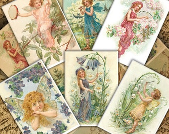 Fairy Illustrations, Digital Collage Sheet, Printable Fairies, Instant  Download  Color Victorian Illustrations