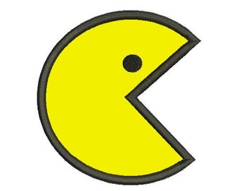5 sizes - Pac Man Applique Design, Pac Man Embroidery, Machine Embroidery, Instant Download, Pac-man applique, Pakkuman Applique Embroidery