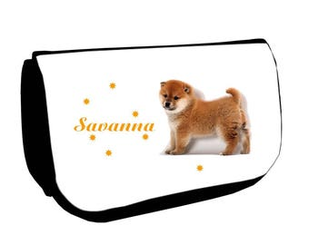 Cosmetic case Black /crayons Akita dog personalized with name