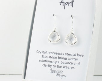 Tiny April Birthstone Silver Earrings, Crystal Silver Dangle Earrings, April Birthstone Jewelry, Silver Earrings, Bridal Earrings