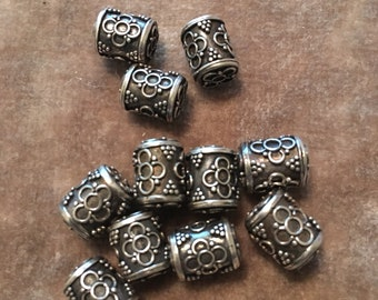 Bali Sterling Silver Cylinder Beads 10mm