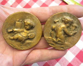 "Plaster Cherub Dots, ornaments, 2 1/8"" diameter, bronze color w/ free ship"