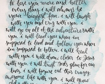 Handlettered Vows