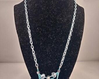 Aqua crystal seedbead necklace, rolo chain necklace, beaded jewelry