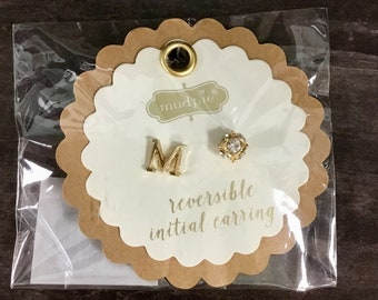 M Initial Earrings Reversible