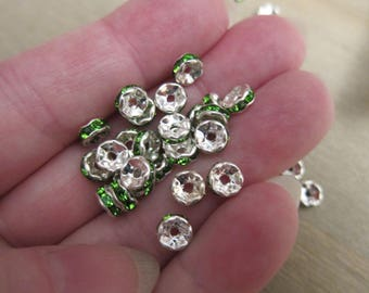 6x3mm, Rondelle Spacer Beads, Silver Plated Brass w/ Peridot Green Glass Rhinestones - Available in 4, 6 & 10 Beads Pkgs and in Larger Pkgs