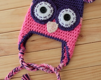 Owl Crochet Beanie, Crochet Hat with Pom Poms,Newborn to Adult Sizes
