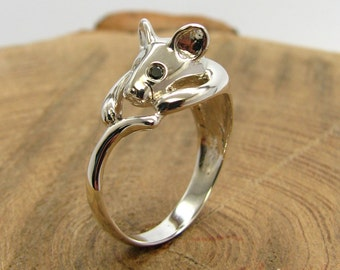 Gold mouse ring Silver mouse ring Mouse ring Sterling Silver
