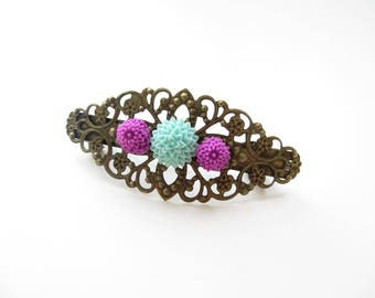 Bronze flower filigree hair clip blue plum