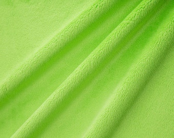 Solid Cuddle Minky Fabric by Shannon Fabrics, Dark Lime, Lime Minky