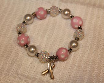 Breast Cancer Support Polka Dot Bracelet with Charm