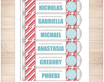 Printable Personalized Bookmarks - Vintage Candy Cane Stripe Blue Snowflake Winter design - DIY Editable PDF - Instant Download