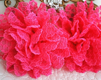 "Set of TWO - Hot Pink Fabric Flowers - Chiffon Flower - 3.5"" Lace rose - Wholesale flowers - Headband supply - Lace Flowers"