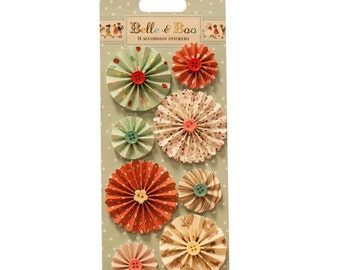 Dovecraft Belle and Boo Accordian Stickers - flowers with buttons