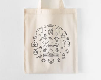 Vermont Tote Bag | Farmers Market Tote | Grocery Bag | Shopping Bag | Gift for Her