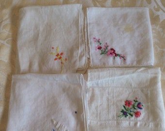 Set of Four Embroidery Floral Handkerchiefs