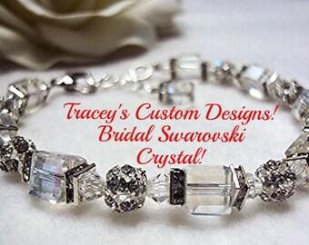 Stunning Swarovski Cubed BRIDAL Bracelet - Custom made designs.