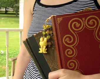Yellow Frog Bookmark Beaded Ribbon Book Thong Spring Happy Kawaii Animal