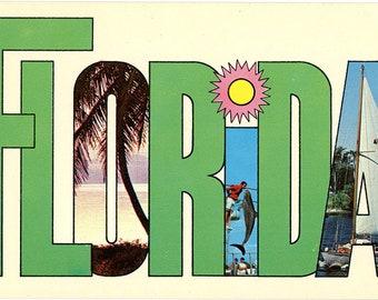 Florida Large Letter Vintage Postcard 1969 (unused)