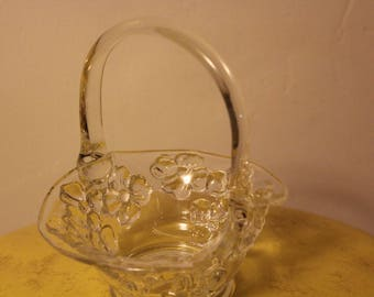 Vintage Glass Basket, Glass Trinket Dish, Glass Vase