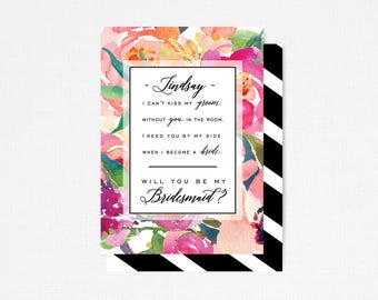 Printable Bridesmaid Card, Will you be my Bridesmaid, Wedding Party Proposal, Personalized Bridal Party Card, Asking Bridal party card,