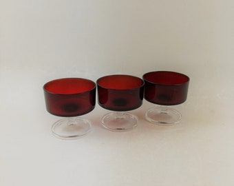 "Vintage Ruby Red Luminarc ""Cavalier""  Champagne Coupe, Set of 3"