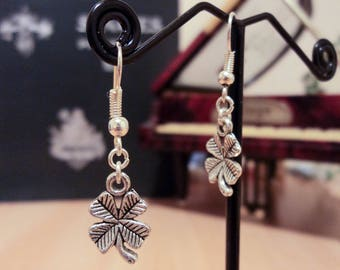 Four 3.5 - Silver - Leaf Clover earrings cm