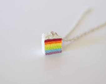 Rainbow Cake Charm, Foodie Gift, food jewelry, cake necklace, miniature food jewelry, birthday cake, cake gift, gift for foodie