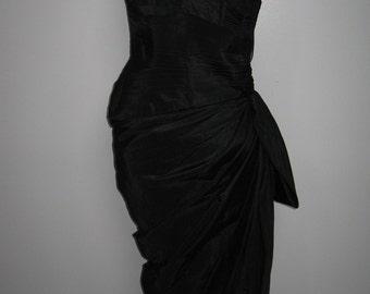 "Glamorous black taffeta strapless ""goddess"" gown"