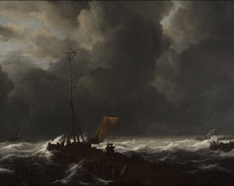 Poster, Many Sizes Available; Jacob Van Ruisdael Rough Sea At A Jetty