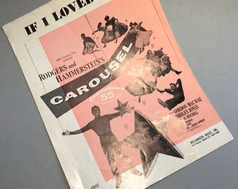 CAROUSEL SHEET MUSIC, If I Loved You music, Rodgers and Hammerstein's music, movie sheet music, vintage sheet music, vintage ephemera