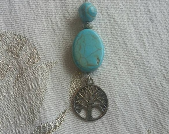 Wire-wrapped Turquoise Pendant, Tree of Life