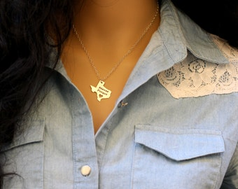 Personalized Texas necklace, Texas State necklace, Engraved Texas State, 14kt Gold Filled, Sterling Silver, Rose Gold Filled, gift for her