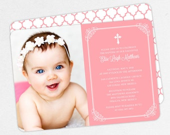 Photo Baptism Invitation, Christening Invitation, Girl Baptism Invite, Printable Baptism, PDF, DIY, Printed, Classic, Modern, Pink, Elise