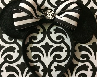 Minnie Mouse Black Stripe High End Fashion Inspired Headband Ears