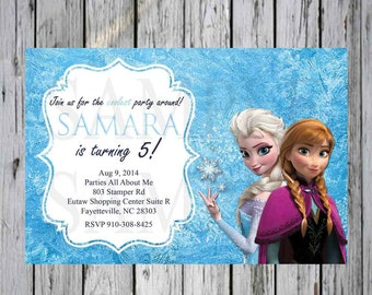 Frozen Birthday Custom Invitation Ana and Elsa