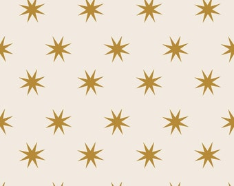 La Vie Boheme Riley Blake Fabric By The Quilted Fish Gold Shimmer Shiny Stars on White Cream