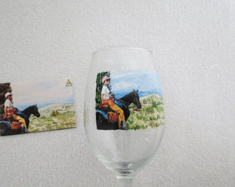 Horse and Rider Desert Hand Painted Wine Glass Made to Order by Pigatopia Shannon Ivins