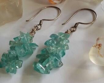 Natural Aqua Blue  Apatite Gemstone Drop Earrings