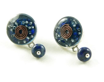 Orgone Energy Post Earrings with Gemstone Dangles in Antiqued Silver with Lapis Lazuli Gemstone - Orgone Energy Jewelry - Artisan Jewelry
