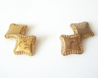 Antique 10K Gold Square Double Faced Cufflinks Monogrammed With The Initial J
