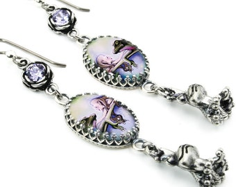 Frog Earrings, Silver Dangle Charm Earrings with Crystals, The Enchanted Frog, Vintage Inspired Photo Glass Drop Earrings